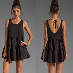 Lovers + Friends Black Tiered Swing Mini Dress